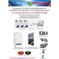 Aktion: Komplette 10.6 kWp Photovoltaikanlage mit SolarEdge Wechselrichter und SolareEdge Leistungsoptimierern